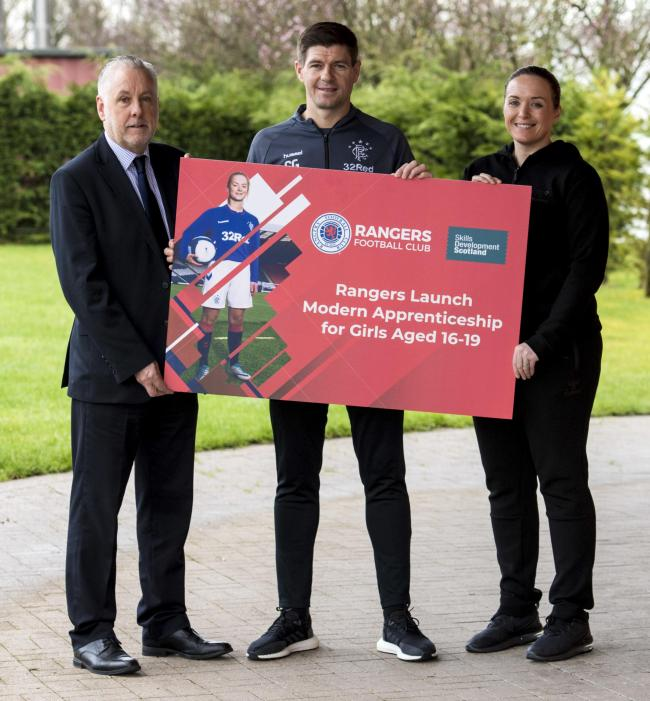 Rangers Manager Steven Gerrard and Rangers WFC Manager Amy McDonald launch Modern Apprenticeships for Rangers Womens players between the ages of 16-19, in partnership with Skills Development Scotland.