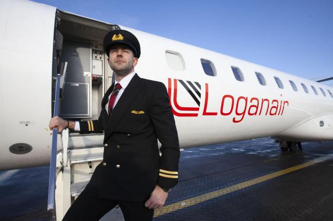 Photo issued by Loganair of James Bushe, the first HIV-positive person to train as a commercial air pilot in Europe