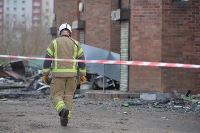 Fire crews remain at the derelict school following a blaze. Picture: Kirsty Anderson/Herald and Times