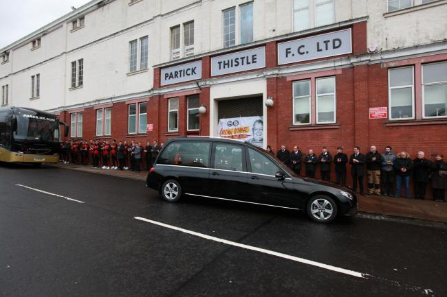 Euromillions winner Colin Weir's funeral cortège passes by home of beloved Partick Thistle