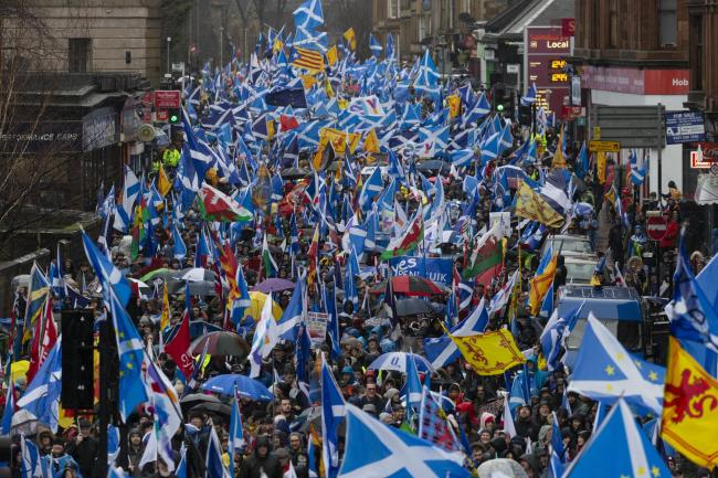 AUOB march for independence, Glasgow. Marchers on Woodlands Road...  Photograph by Colin Mearns.11th January 2020..