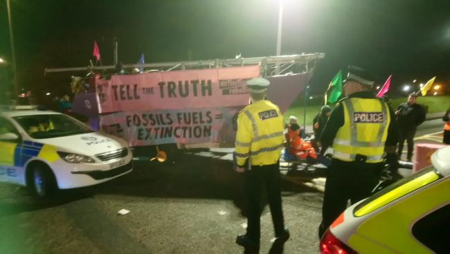 Extinction Rebellion Scotland activists block entrance to Shell HQ in Aberdeen