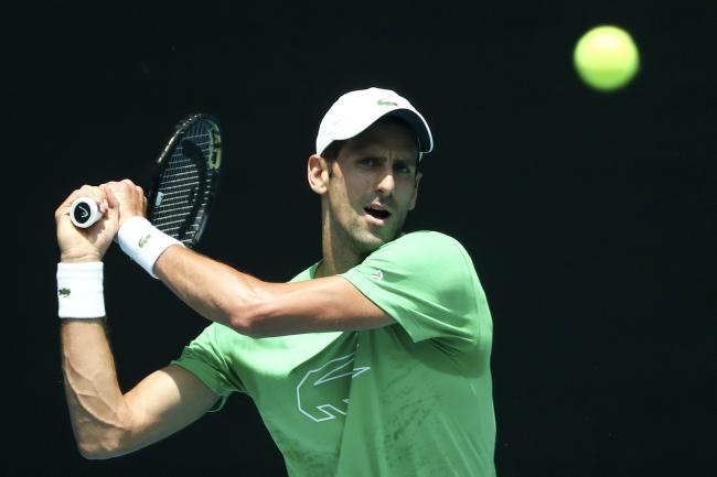 Novak Djokovic during practice at Melbourne Park