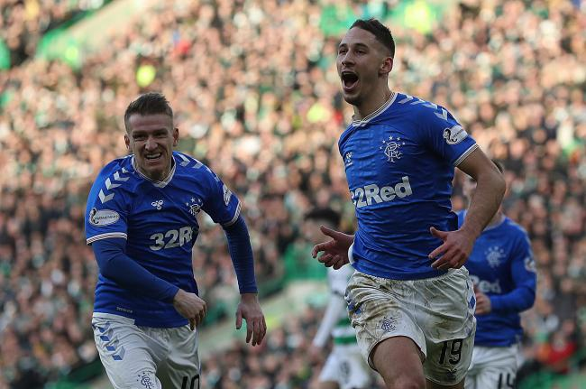 Nikola Katic celebrates scoring the winning goal during the Ladbrokes Premiership match between Celtic and Rangers
