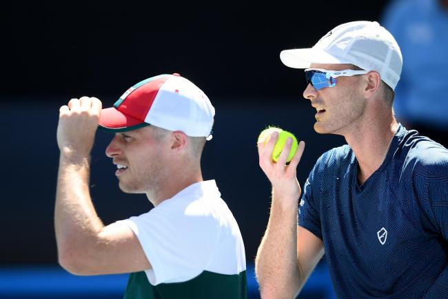 Jamie Murray and Neal Skupski in action against Steve Johnson and Sam Querrey of the United States