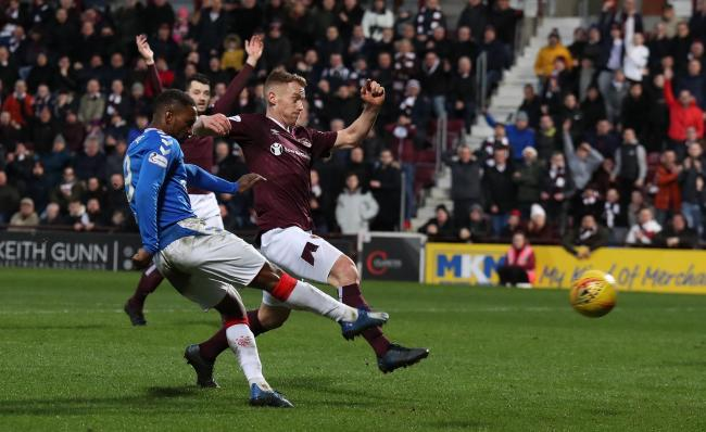 Rangers striker Jermain Defoe shoots on goal at Tynecastle yesterday. Photo: Andrew Milligan/PA Wire.