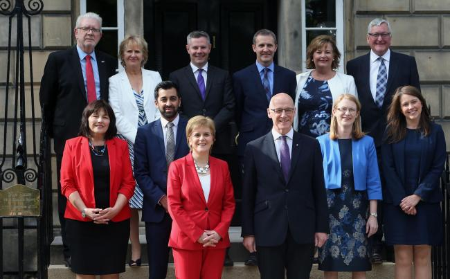 First Minister  Nicola Sturgeon with new cabinet at Bute House tuesday. Back from left, Mike Russell, Roseanna Cunningham, Derek Mackay, Michael Mathieson, Fiona Hyslop,Fergus Ewing. Front from left, Jeanne Freeman, Humza Yousaf, FM Sturgeon, Deputy John