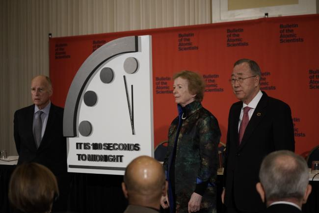 The Doomsday Clock was moved  to 100 seconds to midnight in Washington last week.