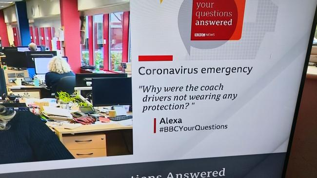 With a shiver down his spine, John Scott noticed a question on the BBC news channel about the deadly Coronavirus was asked by Alexa. John wonders, is this the same Amazon Alexa so many of us now have in our homes. And if so, why is she now asking question