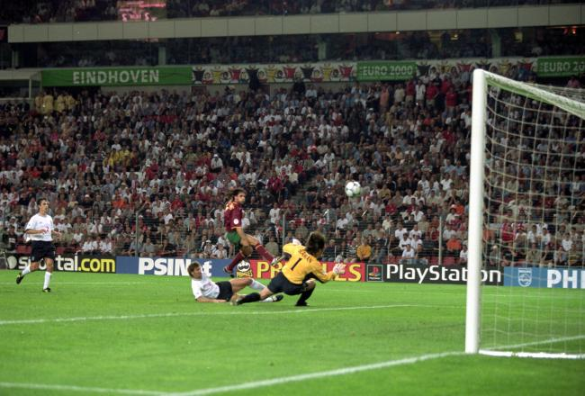 Nuno Gomes scores the winner against England at EURO 2000