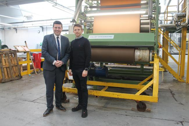 Business Minister Jamie Hepburn with Halley Stevensons General Manager Billy Tosh