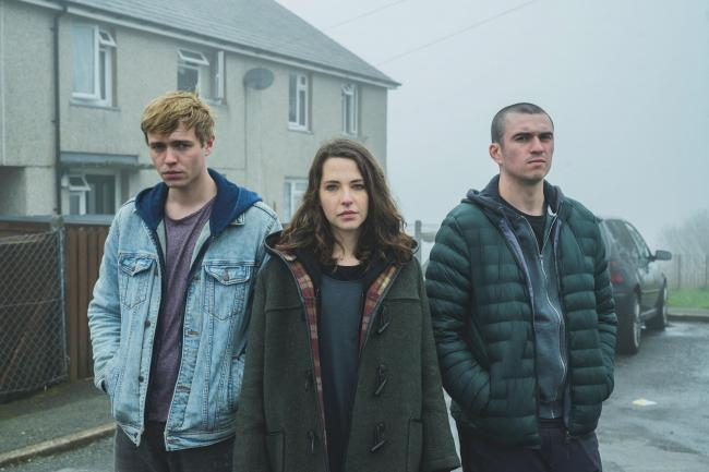 From left, Connor (Steffan Cennydd), Mia (Annes Elwy) and Lee (Siôn Eifion) in Hidden