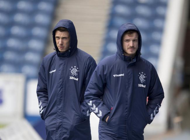 Rangers' Ryan Jack (left) and Andy Halliday prior to the Ladbrokes Scottish Premiership match at Ibrox