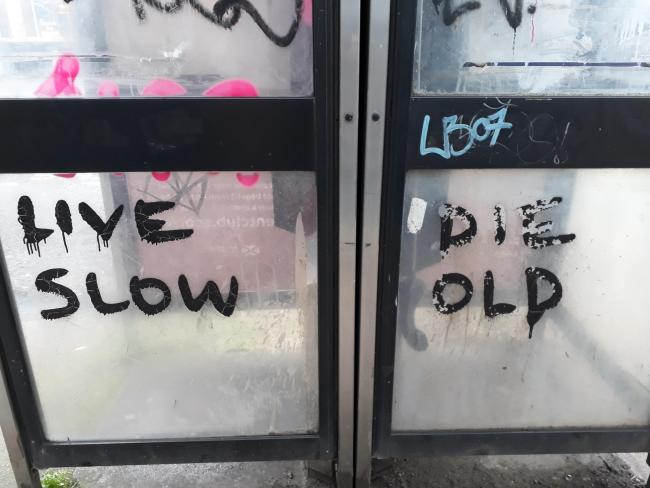 David Donaldson spotted this phone box graffiti in Peel St. Partick. He's still trying to figure out whether it's meant to be a warning or good advice.