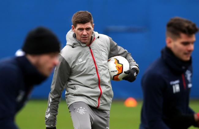 Rangers manager Steven Gerrard during the training session. Photo: Andrew Milligan/PA Wire.