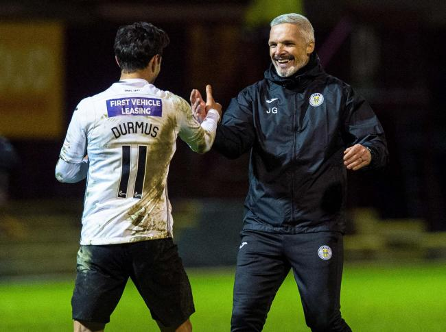Jim Goodwin and Ilkay Durmus after the full-time whistle