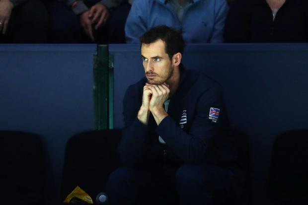 MADRID, SPAIN - NOVEMBER 22: Andy Murray of Great Britain watches the quarter final match between Kyle Edmund and Philipp Kohlschreiber of Germany on Day Five of the 2019 Davis Cup at La Caja Magica on November 22, 2019 in Madrid, Spain. (Photo by Clive B