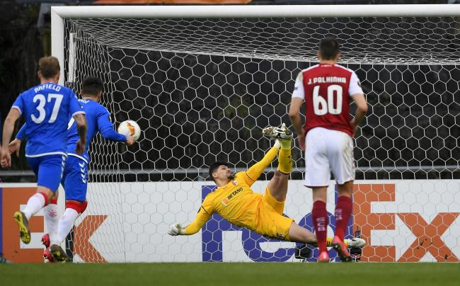 Matheus Magalhaes of Braga saves a penalty from Ianis Hagi