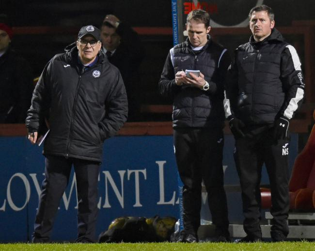 Ian McCall, Alan Archibald and Neil Scally watch on from the sidelines in Tuesday's 0-0 draw with Queen of the South