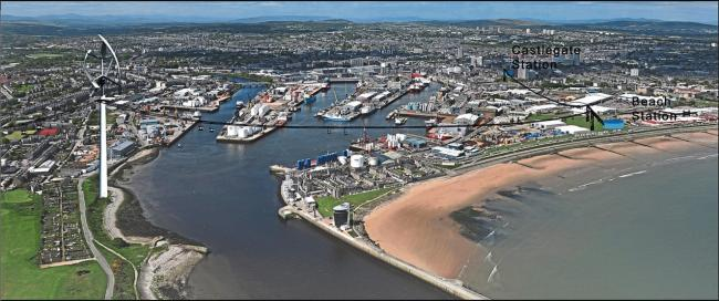 Aerial view of Aberdeen Harbour