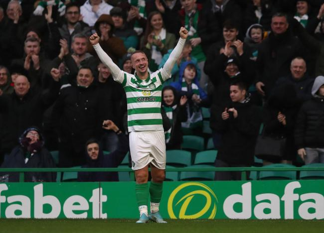 Leigh Griffiths claimed the match ball with a hat-trick for Celtic against St Mirren.
