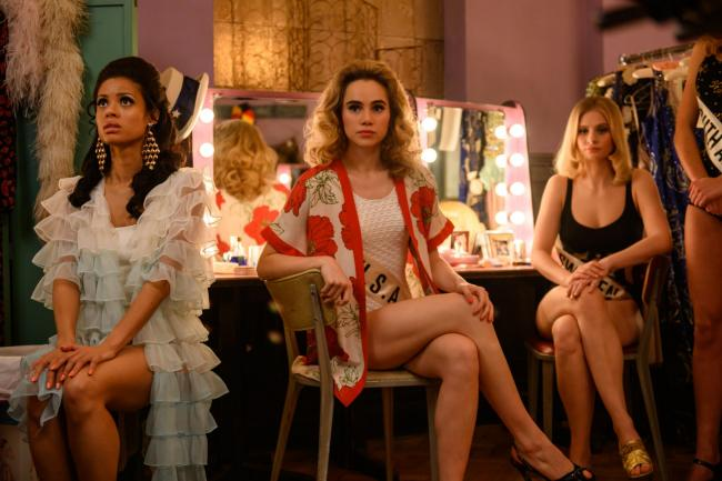 Gugu Mbatha-Raw as Jennifer Hosten, Suki Waterhouse as Sandra Wolsfeld and Clara Rosager as Marjorie Johansson in Misbehaviour. PA Photo/Pathe Productions