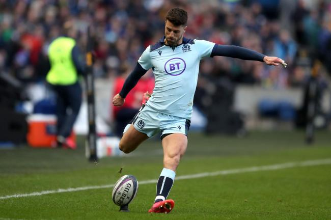 Scotland's Adam Hastings converts his sides second try during the Guinness Six Nations match against France at BT Murrayfield Stadium. Photo: Jane Barlow/PA Wire.