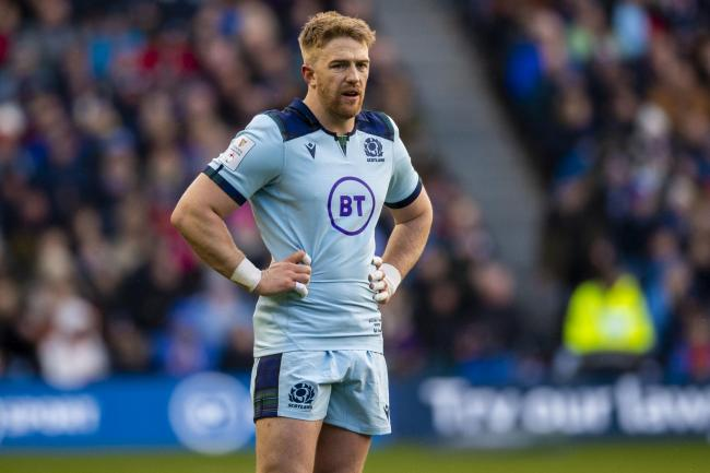 Kyle Steyn in action for Scotland during a Guinness Six Nations match between Scotland and France at BT Murrayfield. (Photo by Gary Hutchison / SNS Group / SRU).