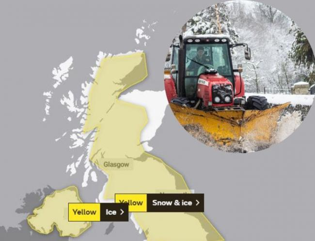 Yellow weather warning for snow and ice issues for much of Scotland