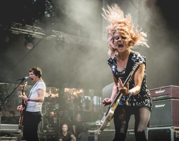 HeraldScotland: Cooper on stage with The Subways. Picture by Jaroslav Kutheil