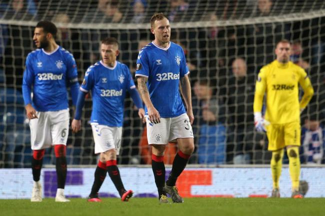 Rangers players during the match against Bayer Leverkusen at Ibrox in March.