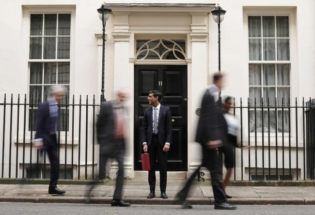 LONDON, ENGLAND - MARCH 11: Rishi Sunak, Chancellor of the Exchequer departs to deliver the annual Budget at Downing Street on March 11, 2020 in London, England. The government is presenting its first budget amid the economic pressure of the coronavirus o