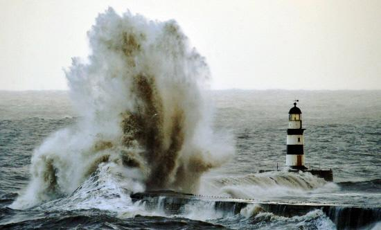 HeraldScotland: STORM FORCE: Towering waves at Seaham, east Durham, yesterday