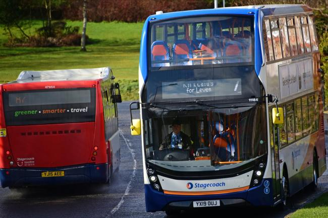 DALGETY BAY, SCOTLAND - March 18: Buses in Fife, following Scottish Transport Secretary Michael Matheson giving evidence on the resilience of the transport system, to the Scottish Parliament's Rural Economy and Connectivity Committee, on March 18, 202