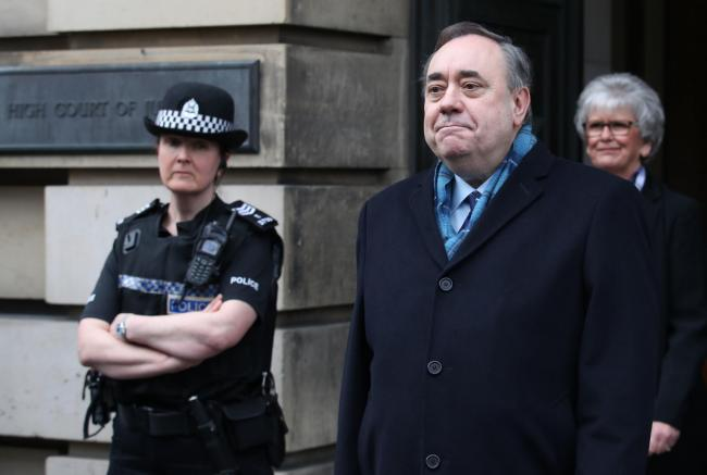 Alex Salmond speaks outside the High Court in Edinburgh after he was cleared of attempted rape and a series of sexual assaults