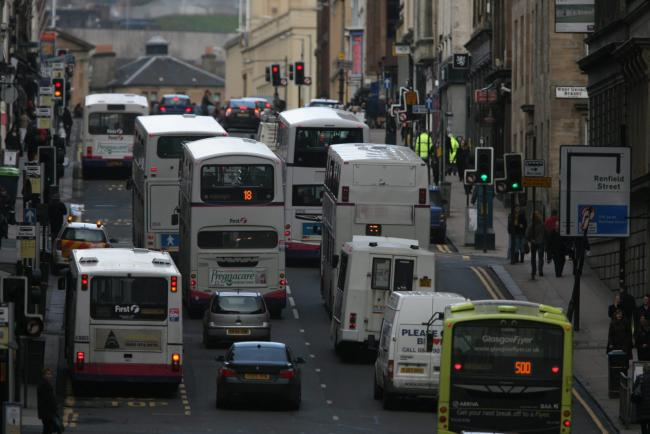 A busy road in Glasgow. Since the lockdown nitrogen dioxide levels have plummeted.