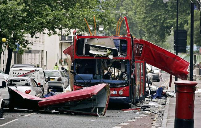 The number 30 double-decker bus in Tavistock Square, which was destroyed by a bomb following the terrorist attacks on the capitalPicture: Peter Macdiarmid/PA Wire