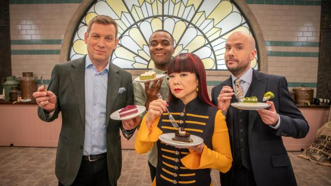 Bake Off: The Professionals. Pictured: (L-R) Benoit Blin, Liam Charles, Cherish Finden and Tom Allen
