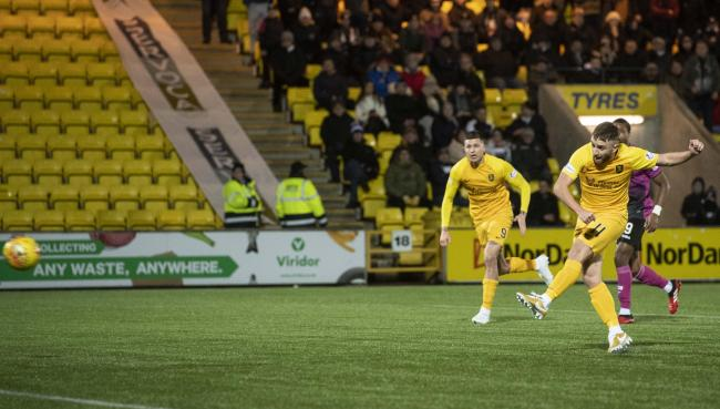 Livingston winger Steven Lawless in action