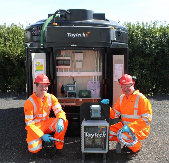 Taytech operations manager Christian Donaldson and director Iain Lindsay with Flexible Dosing System