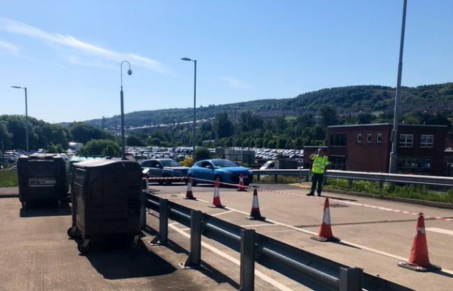 A view of the traffic outside Pottery Street recycling centre in Greenock  (Image: Inverclyde Council)