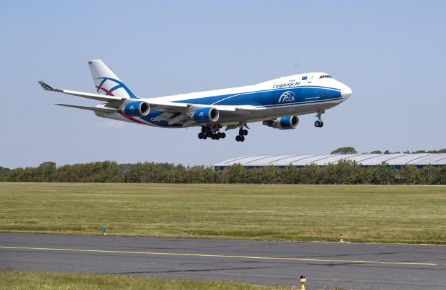 CargoLogicAir flight CLU 5694 lands at Prestwick Airport with a consignment of NHS medical supplies and PPE from China (image: PA)