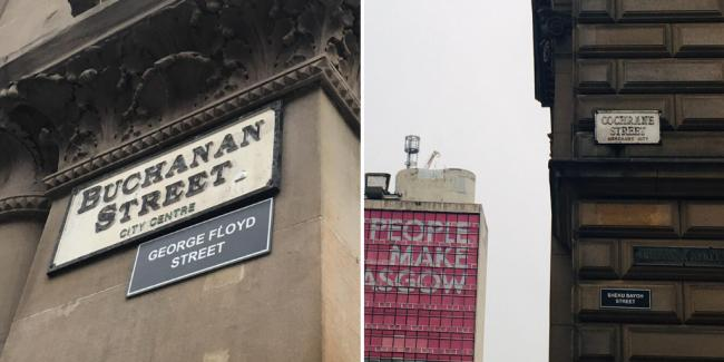Anti-racism activists place plaques with alternative street names on Glasgow's most famous roads
