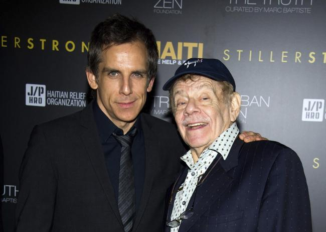 Jerry Stiller with his son, Ben. AP Photo/Charles Sykes, File