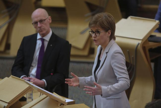 Nicola Sturgeon speaking at First Minister's Questions