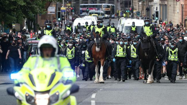 Man arrested after protesters kettled from Glasgow's George Square