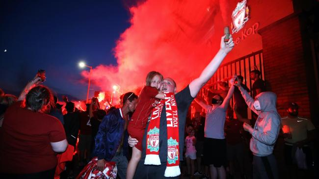 In pictures: Liverpool fans celebrate Premier League triumph