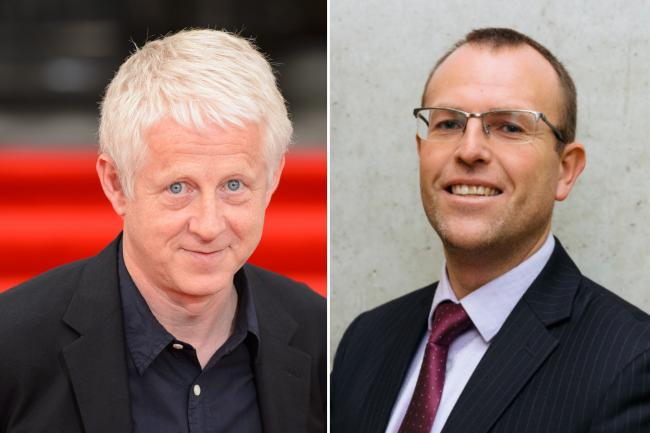 Comic Relief founder Richard Curtis and Chris Tait, project manager of the Ethical Finance Hub
