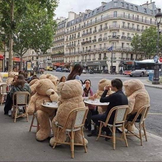 A reader sends us this picture from France. No, it's not a teddy bear's picnic. It's the French way of ensuring social distancing in outdoor cafes. By plonking a large stuffed toy in every second chair.