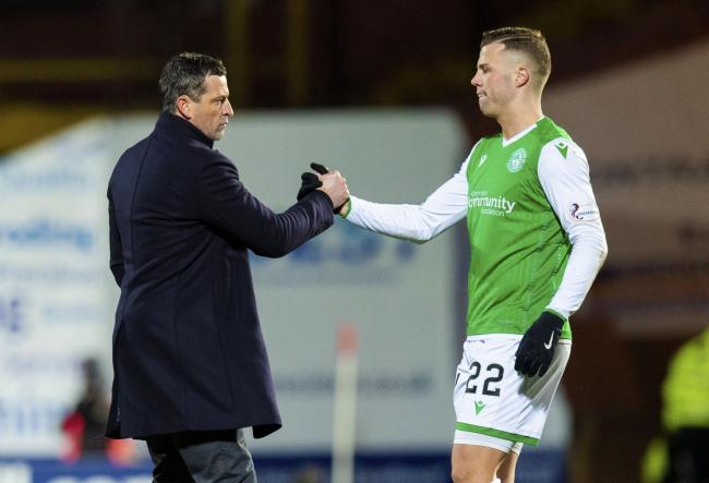 Hibs manager Jack Ross with Florian Kamberi